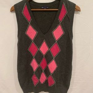 Gap argyle sleeveless sweater vest pullover Lg
